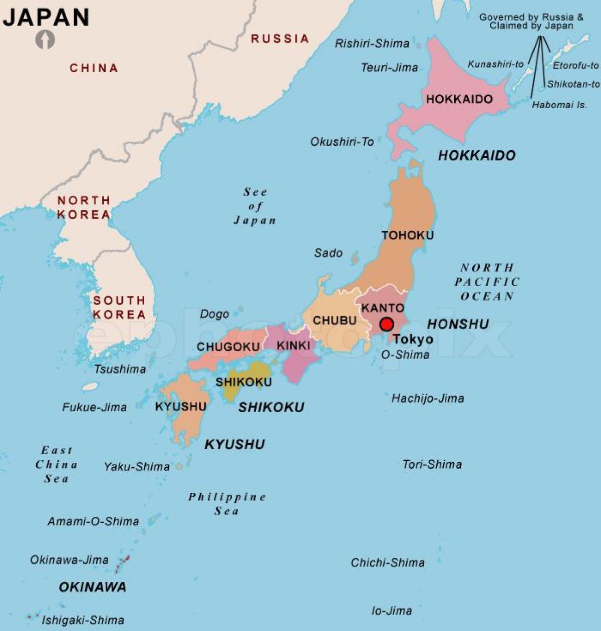 Mapa Polityczna Japonii Polityczna Mapa Japonii Wschodniej Azji